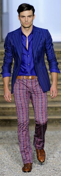 by Roberto Cavalli men's print pants, royal blue shirt and striped royal blue blazer