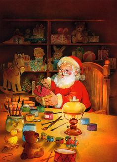 Santa in his Workshop animated toys christmas santa christmas gif north pole workshop
