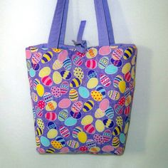Easter Purse Handbag Tote Bag Purple Lavender by ColleensDesigns on etsy.