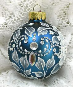 Peacock MUD Ornament with Flowers and Motif Bling. $25.00, via Etsy.