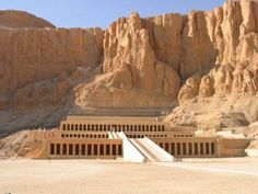 Temple of Queen Hatshepsut - It is situated beneath the cliffs at Deir el Bahari near the Valley of the Kings. Designed by the architect Senemut, this mortuary temple is dedicated to the Sun God, Amon-Ra. It employs a lengthy, colonnaded terrace tht deviates from the earlier centralized Mentuhotep temple. There are three-layered terraces measuring up to 97 feet tall. It is constructed in 1480 BC, over 3400 years ago.