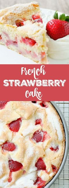 FRENCH STRAWBERRY CAKE Welcome! You are in for a treat with this French Strawberry Cake. Blended in one bowl with the season's freshest strawberries, this cake heats up with a custardy center and crackly, sugary top. Bon Dessert, Oreo Dessert, Appetizer Dessert, Patisserie Paris, Strawberry Cakes, Strawberry Brownies, Strawberry Dessert Recipes, Recipes For Strawberries, Strawberry Ideas