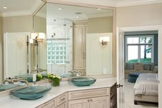 Love the Glass Vessel Sinks: Master bath on The House of L  http://thehouseofl.net/wp/?portfolio=residence-4#sg3