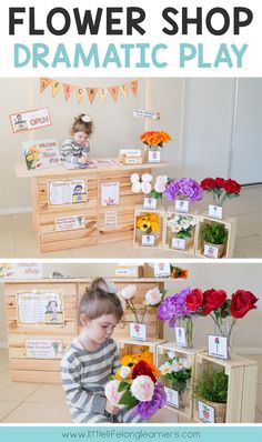 Flower shop or florist dramatic play center set up a flower shop in your roleplay area Posters signs labels and printables imaginative play ideas for Prep Foundation K. Dramatic Play Themes, Dramatic Play Area, Dramatic Play Centers, Preschool Dramatic Play, Early Years Classroom, Play Based Learning, Kids Learning, Play Centre, Preschool Activities