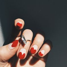 For Fall, try this heart manicure! We're in loving these nails!