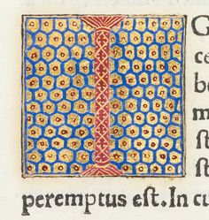 """Decorated initial """"I"""" from Scriptores historiae Augustaeb with background pattern"""