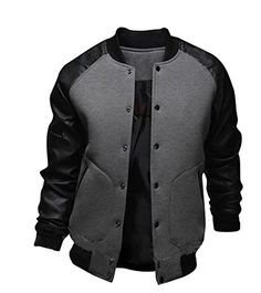 Abetteric Mens PU Leather Varsity Baseball Solid College Jacket Coat ** Click image for more details.