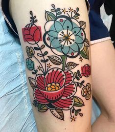 Mid-Century Modern Barkcloth Floral Tattoo by Jen Trok at Speakeasy Custom Tatto. - Mid-Century Modern Barkcloth Floral Tattoo by Jen Trok at Speakeasy Custom Tattoo, Chicago IL – I - Pretty Tattoos, Love Tattoos, Beautiful Tattoos, Body Art Tattoos, Styles Of Tattoos, Rib Tattoos, Modern Tattoos, Tattoos Skull, Sweet Tattoos