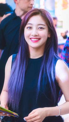 Jihyo purple hair Twice Nayeon, Kpop Girl Groups, Korean Girl Groups, Kpop Girls, Leader Twice, Park Ji Soo, Warner Music, Jihyo Twice, Twice Kpop