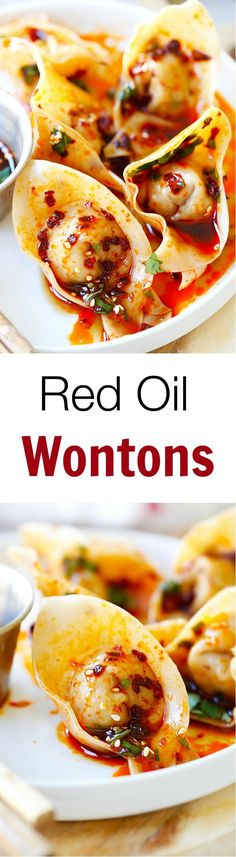 Red Oil Wontons – mouthwatering spicy wontons in Sichuan red oil and black vinegar sauce, SOOOO GOOD!!! | http://rasamalaysia.com
