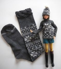 cute doll dress upcycled sock