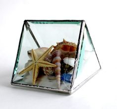 One+Of+A+Kind+Stained+Glass+Tent+Prism+Beachscape+by+LAGlass,+$45.00