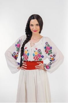 Ie traditionala romaneasca cu maneca lunga RL0218 Bell Sleeves, Bell Sleeve Top, Embroidery, My Love, Romania, Tops, Women, Fashion, Curve Dresses