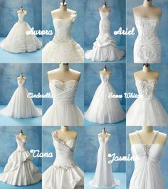 im being forced to look up disney princess wedding decor for my sister. and she doesnt even have a man. but nevertheless these are beautiful! Disney Inspired Wedding Dresses, Disney Princess Dresses, Cinderella Dresses, Disney Dresses, Princess Wedding Dresses, Best Wedding Dresses, Wedding Gowns, Bridesmaid Dresses, Disney Princesses