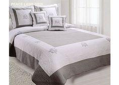 Couvre lit Boutis brodé 230x250 Gris-Blanc PEACELAND gris