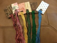 Wholesale - Hand Painted Overdyed Floss Lot - 6 large skeins - Natural Dyes