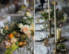 Golden tones Flowers by Saipua Candle Wedding Centerpieces, Floral Centerpieces, Floral Arrangements, Wedding Decorations, Table Decorations, Table Arrangements, Centrepieces, Floral Wedding, Wedding Flowers