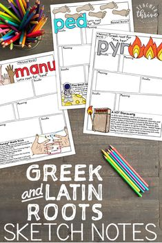 and Latin Roots Sketch Notes [Book Sketch Notes for Greek and Latin roots! The ultimate vocabulary resource that your students will love.Sketch Notes for Greek and Latin roots! The ultimate vocabulary resource that your students will love. Teaching Latin, Teaching Vocabulary, Vocabulary Strategies, Spanish Vocabulary, Vocabulary Games, Teaching Spanish, Teaching Resources, Teaching Ideas, 6th Grade Ela
