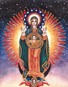 """Theotokos of the Sign of Guadalupe 2012 Watercolor and Ink 8 ½ x 10 ¾ inches """"The peoples of Mexico and all the Americas wond. The Theotokos of Guadalupe Divine Mother, Blessed Mother Mary, Blessed Virgin Mary, Religious Icons, Religious Art, Ora Et Labora, Arte Latina, Madona, Virgin Mary Art"""