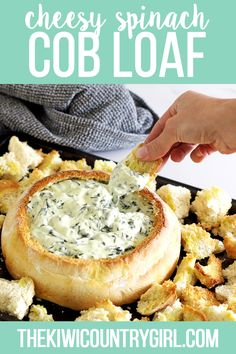 This delicious cheesy spinach cob loaf recipe is the most delicious appetizer ever! The best spinach cheese dip served up in a homemade cob loaf and ready to dip toasty bread into! Cob Loaf Spinach Dip, Cob Loaf Dip, Spinach Cheese Dip, Cheese Dips, Cheese Bread, Cheese Platters, Loaf Recipes, Dip Recipes, Cooking Recipes