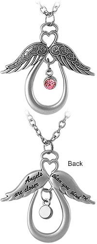 Angels are Closer Than You Think™ Crystal Necklace at The Autism Site I want this with my grandma's birthstone.