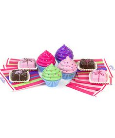 Sophia's Cupcake & Petit Four Set for 18'' Doll. Includes four cupcakes, four petit fours and eight napkins $8.99