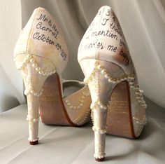 Wedding shoes roses lace pearl ivory personalized by norakaren. Whoa baby. So expensive but so pretty!