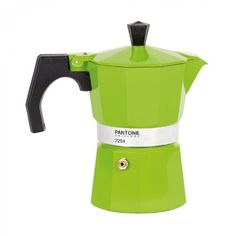 Whitbread Wilkinson has just launched Pantone Coffee Pots in three different sizes. The colorful percolators have a retro Italian style -that is pretty darn cool- and come in your choice of Pantone… Espresso Maker, Espresso Cups, Coffee Maker, Pantone Verde, Pantone Universe, Espresso Kitchen, Amazon Coffee, Kartell, Moka