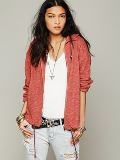 Free People Knit Hooded Drippy Jacket