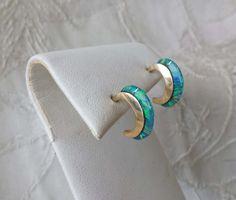 "14k Yellow Gold Onyx Petite Hoop Earrings Estate Find 5/8"""