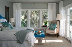 Benjamin Moore Gray Cashmere in a room with low natural lighting. one of the best blue green paint colours