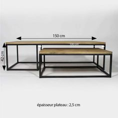 Table basse industrielle gigogne métal bois -Made in Meubles