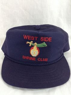 West Side Shrine Club Hat Leather Strapback Strap Cap Adjustable Secret Society #CAP #BaseballCap