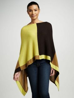 Ruana Cashmere Colorblock Cape by Minnie Rose at Neiman Marcus. Cashmere Poncho, Cashmere Sweaters, Cape Scarf, Recycled Sweaters, Short Tops, Material Girls, Chic Outfits, Beautiful Outfits, Color Blocking