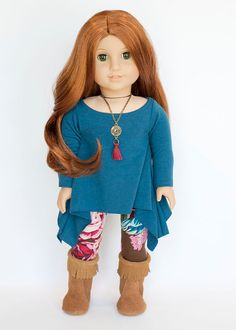 American Girl Doll outfit blue twirly tunic, floral leggings, and boots by EverydayDollwear on Etsy $30.00