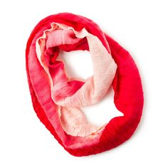 Red and Pink Ombre Wave Knit Infinity Scarf
