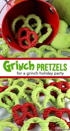 christmas snacks Grinch Pretzels are an amazing treat for your Grinch Christmas Party. Everyone at your Grinch Party is going to love this Grinchy Green sweet and salty pretzel so save this yummy and easy to make Grinch Party Food Recipe for later! Grinch Party, Grinch Christmas Party, Christmas Snacks, Christmas Cooking, Christmas Goodies, Christmas Candy, Holiday Treats, Holiday Recipes, Christmas Parties