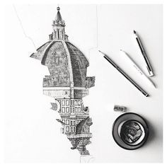 { duomo - florence } // awesome detailed sketch by @minty_sainsbury ▲…