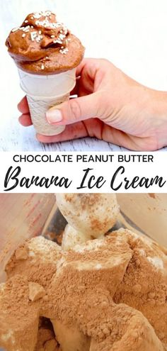 Scroll down to watch the video! In the name of all thing holy, I am hoping you've already had the opportunity to try some type of banana ice-cream before now. Simply, if you put frozen Peanut Butter Ice Cream, Peanut Butter Desserts, Peanut Butter Banana, Chocolate Peanut Butter, Chocolate Recipes, Healthy Ice Cream, Vegan Ice Cream, Healthy Dessert Recipes, Baby Food Recipes