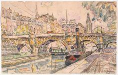 Paul Signac (French, 1863–1935). Tugboat at the Pont Neuf, Paris, 1923. The Metropolitan Museum of Art., New York. Robert Lehman Collection, 1975 (1975.1.717)