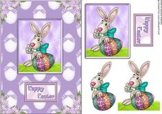 Thumbs up for the Easter Bunny on Craftsuprint designed by Barbara Alderson - step by step decoupage on a cad front - Now available for download!