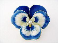 Antique Art Nouveau 14k Enamel Enameled Pearl Pansy Flower Brooch Pin C 1900 | eBay