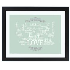 Wedding Typographic Art Poster in Black Frame from personalised-by-you.com - A beautiful, fully personalised typographic art poster in a black frame to commemorate that special day.