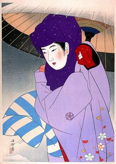 A Hooded Woman by Ito Shinsui, 1948
