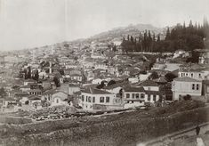 General views of Smyrna-The Turkish quarter of Smyrna, taken around the 1880s, but the above viewing inland, with Mount Pagus in the background and the second, looking in the opposite direction (photographer F. Firth). Bottom image (similar period, Bonfils) is around turn of century, clearly showing the barracks.