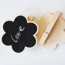 Çiçek formlu ahşap kara tahta mandal