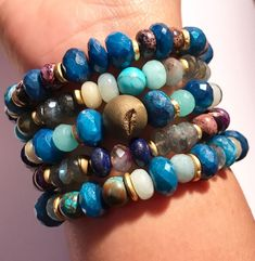 Bohemian Style colour stacking bracelets made from various Gemstones handmade boho chic bracelets