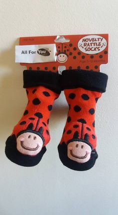 Baby Socks Novelty Rattle Socks Legs Toddler Newborn Gift Ladybug Red Cloth Kids