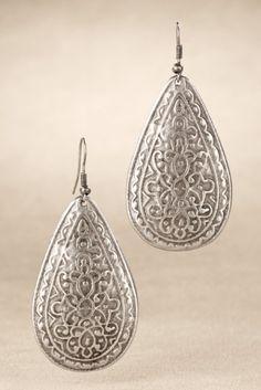 Etched Pewter Earrings - Filigree Earrings, Teardrop Dangle Earrings | Soft Surroundings