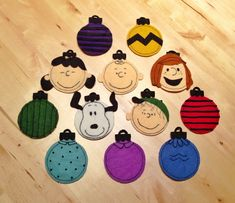 Embroidered felt Peanuts ornaments for my Peanuts-obsessed mom -- inspired by a great tutorial at alittlegray.blogspot.com (I added a few characters)
